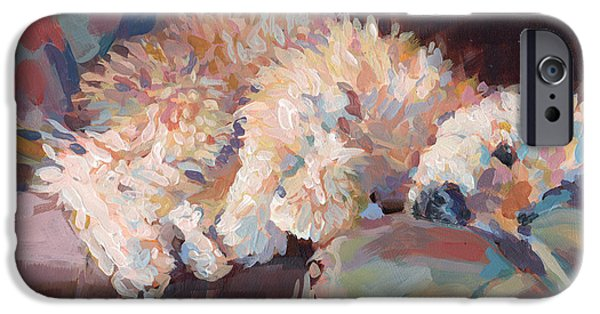 Puppies Paintings iPhone Cases - Brie as Odalisque iPhone Case by Kimberly Santini
