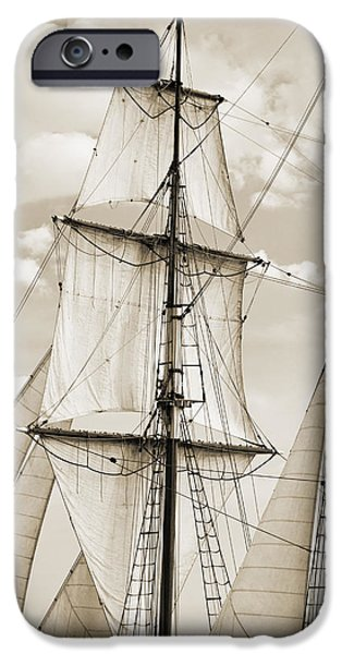 Tall Ship iPhone Cases - Brigantine Tallship Fritha Sails and Rigging iPhone Case by Dustin K Ryan