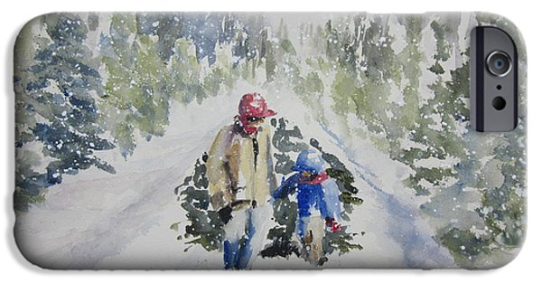 Snowbank iPhone Cases - Bringing in the Tree 2011 iPhone Case by Sandra Strohschein