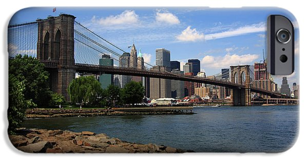 Business Photographs iPhone Cases - Brooklyn Bridge - New York City Skyline iPhone Case by Frank Romeo