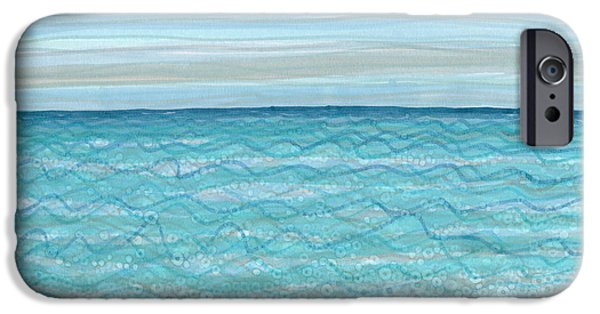 Abstract Seascape Drawings iPhone Cases - Bubble Beach iPhone Case by Regina Valluzzi