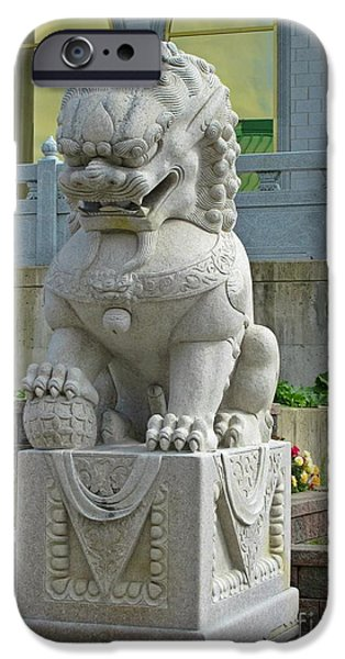 Asian Sculptures iPhone Cases - Buddhist Lion Symbol iPhone Case by Crystal Loppie