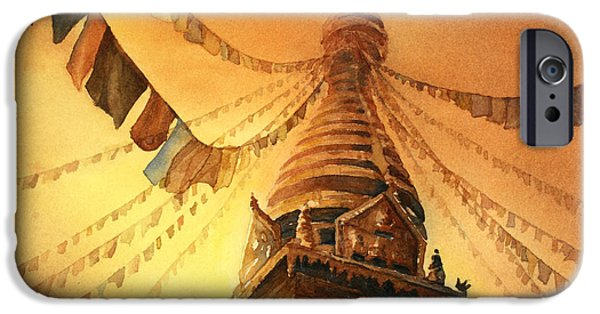 Buddhist Paintings iPhone Cases - Buddhist Stupa- Nepal iPhone Case by Ryan Fox