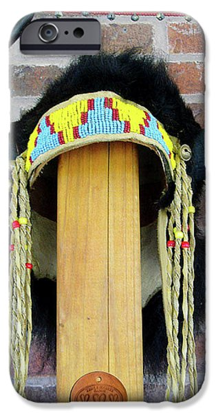 Native Sculptures iPhone Cases - Buffalo Horn Headress iPhone Case by Roger D Hale