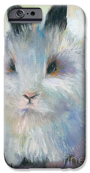 Animal Drawings iPhone Cases - Bunny Rabbit painting iPhone Case by Svetlana Novikova