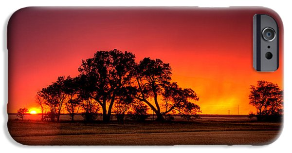 Rain Storms iPhone Cases - Burning Sunset iPhone Case by Thomas Zimmerman