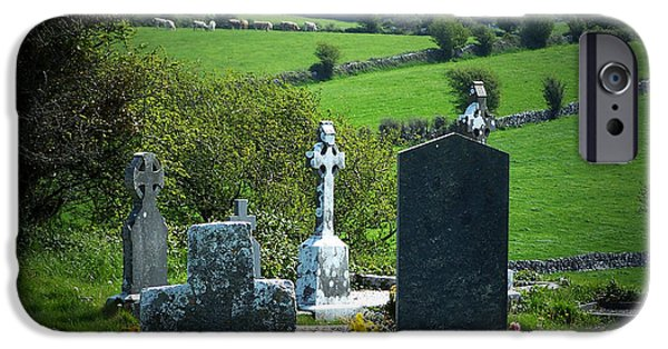 Headstone iPhone Cases - Burren Crosses County Clare Ireland iPhone Case by Teresa Mucha