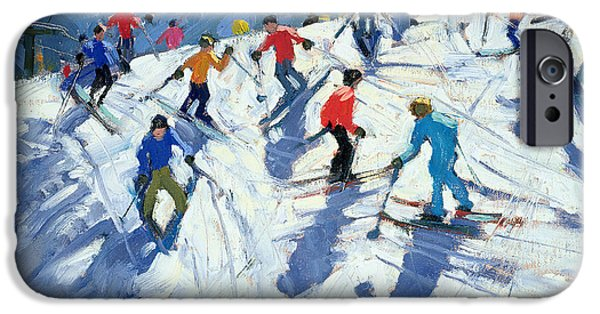 Austrian iPhone Cases - Busy Ski Slope iPhone Case by Andrew Macara