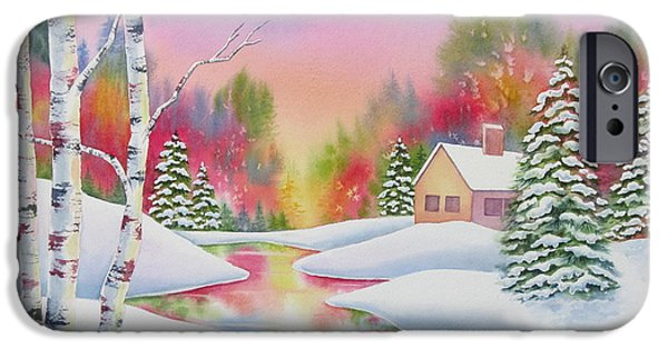 Winterscape iPhone Cases - Cabin In The Woods iPhone Case by Deborah Ronglien