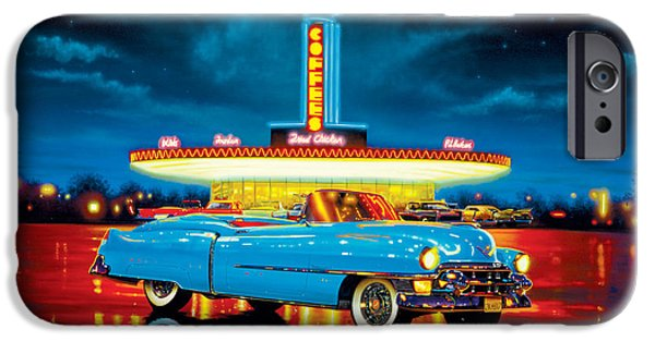 Eighties iPhone Cases - Cadillac Diner iPhone Case by MGL Studio - Chris Hiett