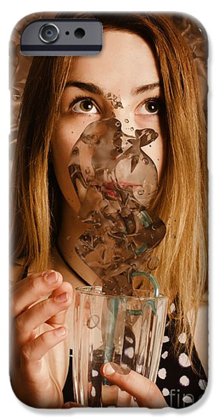 Smoothie iPhone 6 Case - Cafe Tin Sign Girl Drinking Chocolate Milkshake by Jorgo Photography - Wall Art Gallery