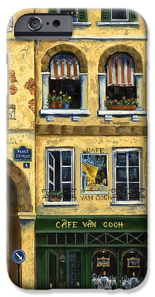 Window Paintings iPhone Cases - Cafe Van Gogh Paris iPhone Case by Marilyn Dunlap