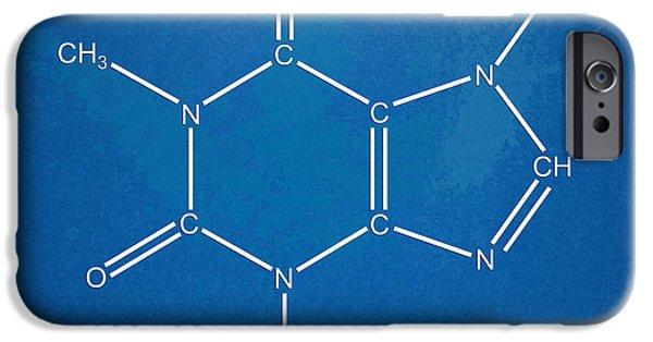 Latte iPhone Cases - Caffeine Molecular Structure Blueprint iPhone Case by Nikki Marie Smith