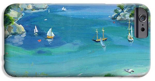 Sailing Paintings iPhone Cases - Cala Galdana - Minorca iPhone Case by Anne Durham
