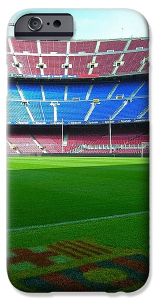 Spanien iPhone Cases - Camp Nou - Barcelona iPhone Case by Juergen Weiss