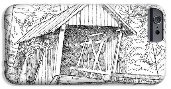 Covered Bridge Drawings iPhone Cases - Campbells Covered Bridge iPhone Case by Greg Joens