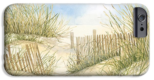 Cape Cod iPhone Cases - Cape Cod Dunes and Fence iPhone Case by Virginia McLaren