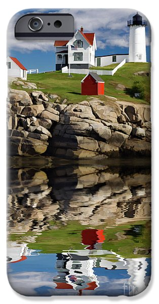 Nubble Lighthouse iPhone Cases - Cape Neddick Reflection - D003756a iPhone Case by Daniel Dempster