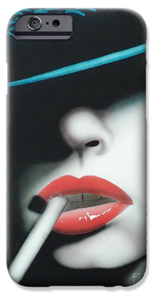 Airbrush Mixed Media iPhone Cases - Captain Cigarette iPhone Case by Carla Carson