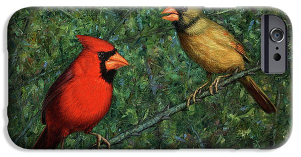 Couple iPhone Cases - Cardinal Couple iPhone Case by James W Johnson
