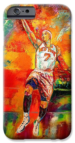 Knicks Paintings iPhone Cases - Carmelo Anthony New York Knicks iPhone Case by Leland Castro