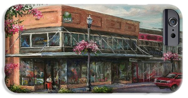 Store Fronts Paintings iPhone Cases - Carmens Corner iPhone Case by Virginia Potter