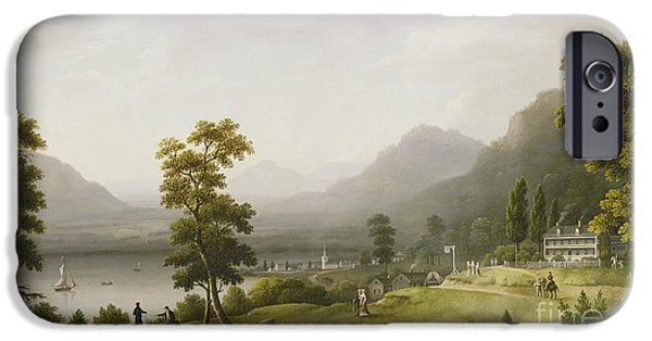 Hill iPhone Cases - Carters Tavern at the Head of Lake George iPhone Case by Francis Guy