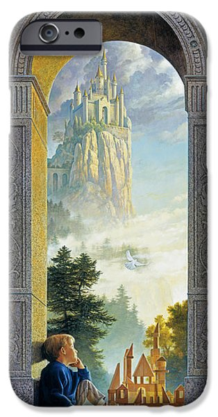 Window Paintings iPhone Cases - Castles in the Sky iPhone Case by Greg Olsen