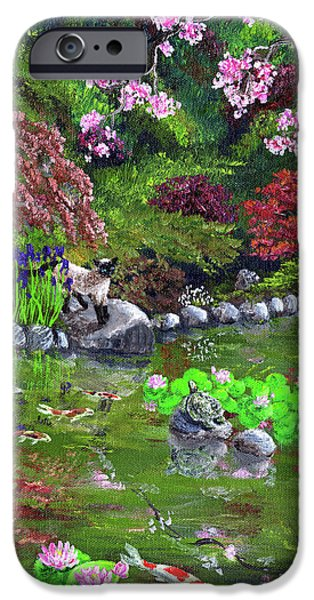Waterlily iPhone Cases - Cat Turtle and Water Lilies iPhone Case by Laura Iverson