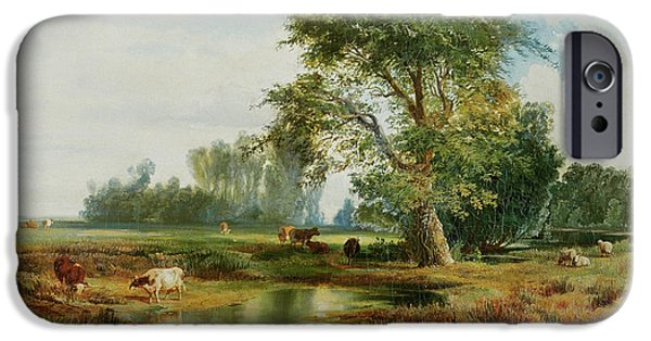 Hudson River iPhone Cases - Cattle Watering iPhone Case by Thomas Moran