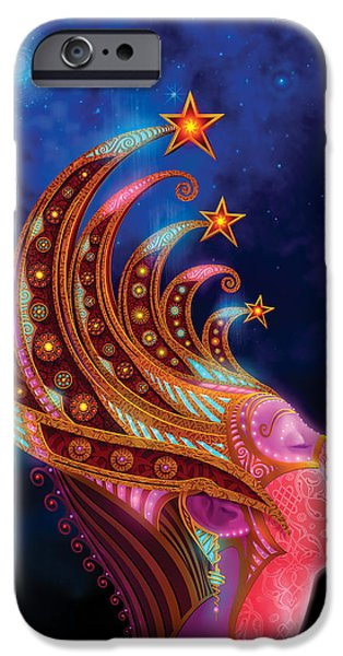 Beautiful Girl iPhone Cases - Celestial Queen iPhone Case by Philip Straub
