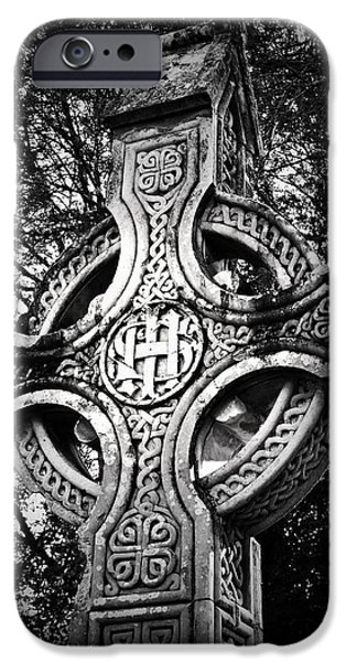 Religious Icon iPhone Cases - Celtic Cross Detail Killarney Ireland iPhone Case by Teresa Mucha