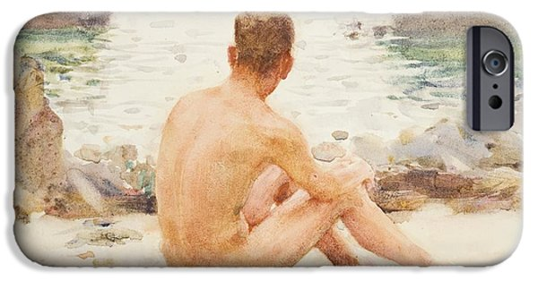 Beach Model iPhone Cases - Charlie Seated on the Sand iPhone Case by Henry Scott Tuke