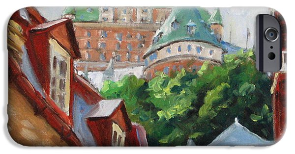 City Scape Paintings iPhone Cases - Chateau Frontenac iPhone Case by Richard T Pranke