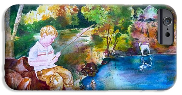 Dog In Landscape iPhone Cases - Chaytons Lake in the Woods iPhone Case by Sharon Mick