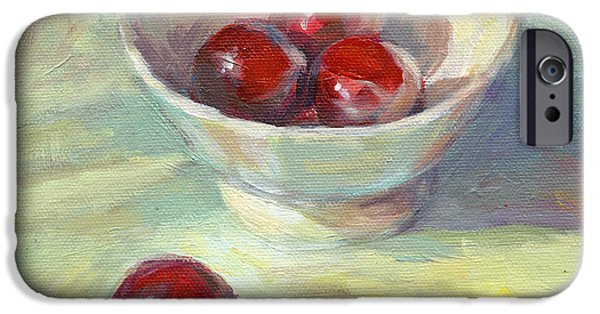 Vibrant Colors Drawings iPhone Cases - Cherries in a cup on a sunny day painting iPhone Case by Svetlana Novikova