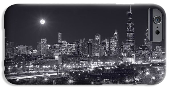 Willis Tower iPhone Cases - Chicago By Night iPhone Case by Steve Gadomski