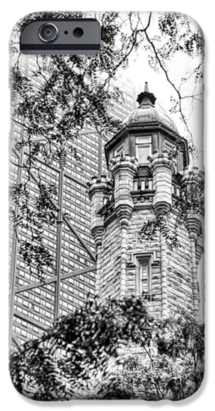IPhone 6 Case featuring the photograph Chicago Historic Water Tower Fog Black And White by Christopher Arndt