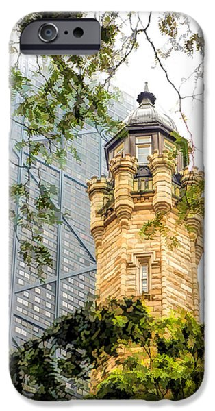 IPhone 6 Case featuring the painting Chicago Historic Water Tower Fog by Christopher Arndt