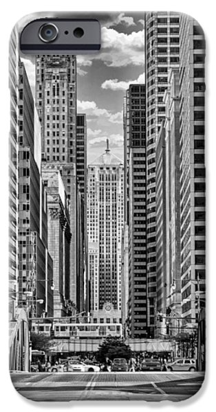 IPhone 6 Case featuring the photograph Chicago Lasalle Street Black And White by Christopher Arndt