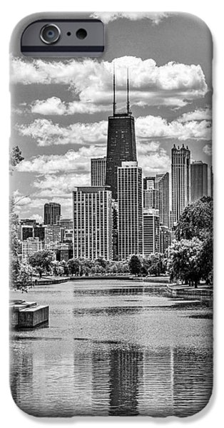 IPhone 6 Case featuring the painting Chicago Lincoln Park Lagoon Black And White by Christopher Arndt