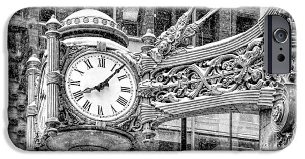 IPhone 6 Case featuring the photograph Chicago Marshall Field State Street Clock Black And White by Christopher Arndt