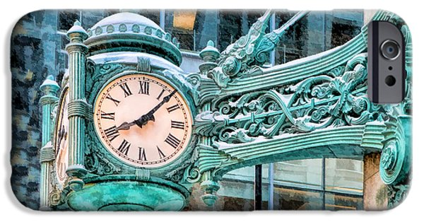 IPhone 6 Case featuring the painting Chicago Marshall Field State Street Clock by Christopher Arndt