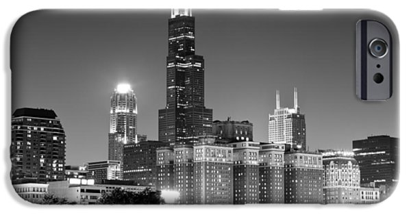 Recently Sold -  - Franklin iPhone Cases - Chicago Night Skyline in Black and White iPhone Case by Paul Velgos