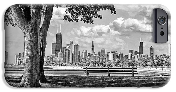 IPhone 6 Case featuring the photograph Chicago North Skyline Park Black And White by Christopher Arndt