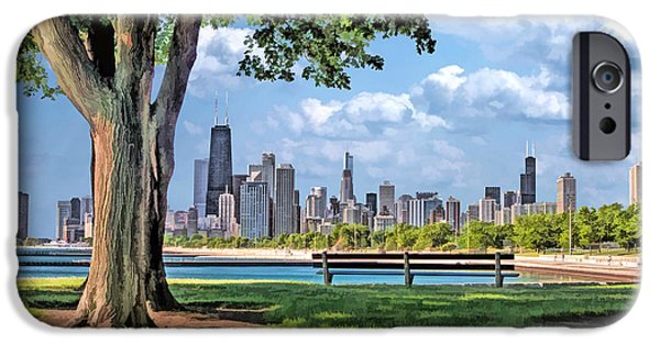 IPhone 6 Case featuring the painting Chicago North Skyline Park by Christopher Arndt