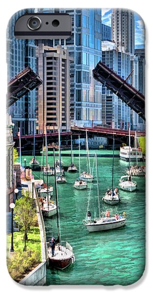 IPhone 6 Case featuring the painting Chicago River Boat Migration by Christopher Arndt