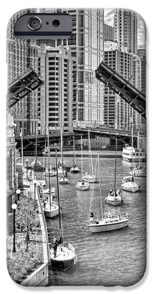 IPhone 6 Case featuring the photograph Chicago River Boat Migration In Black And White by Christopher Arndt