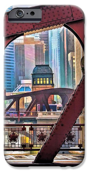 IPhone 6 Case featuring the painting Chicago River Bridge Framed by Christopher Arndt