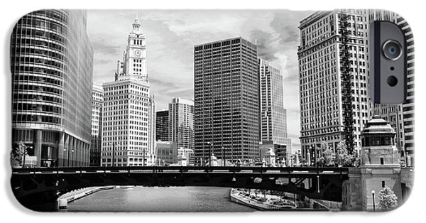 Wrigley iPhone Cases - Chicago River Buildings Skyline iPhone Case by Paul Velgos
